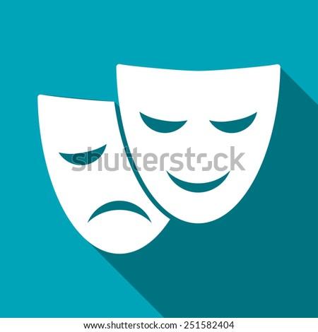theatre masks icon - stock vector