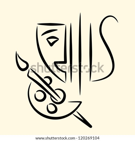 Theatre, music, painting emblem - stock vector