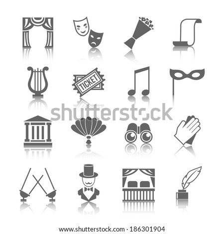 Theatre vector icon set grey with reflection - stock vector