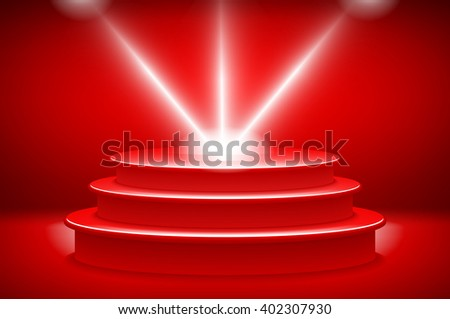 theatrical background.scene and red curtains.red podium on a background of red drape curtains.vector art - stock vector