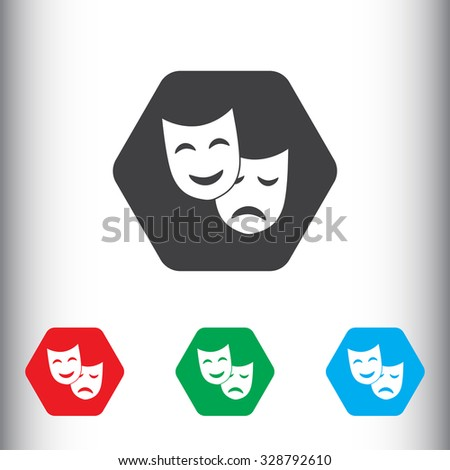 Theatrical masks sign icon, vector illustration. Theatrical masks symbol. Flat icon. Flat design style for web and mobile. - stock vector
