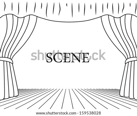theatrical scene drawing on a white background - stock vector