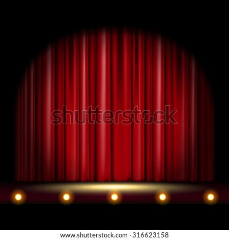 theatrical scene with red curtain - stock vector
