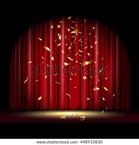 theatrical scene with red curtain and falling gold confetti - stock vector