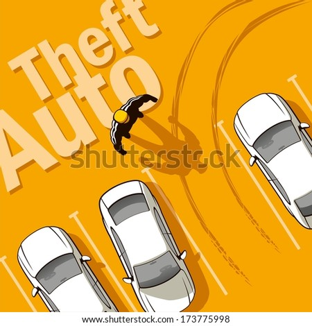Theft Auto. The owner discovers the theft of his car from the parking lot. - stock vector