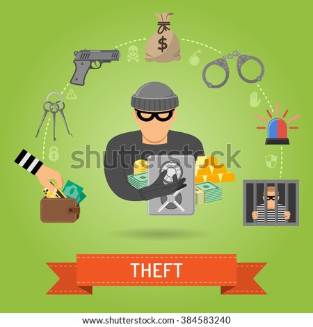 Theft Crime and Punishment Concept with Flat Icons for Flyer, Poster, Web Site like Thief, Money, Gun, lock pick, bag of money, handcuffs, prison, prisoner. - stock vector