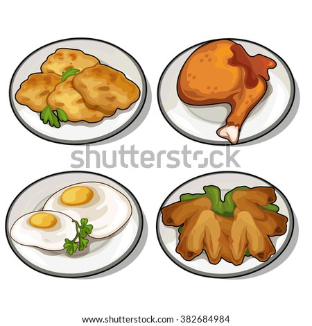 Thematic set of food products from poultry meat and eggs. Vector illustration. - stock vector