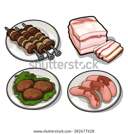 Thematic set of foods from meats and animal fat. Vector illustration.