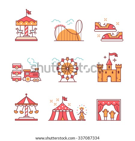 Theme amusement park sings set. Thin line art icons. Flat style illustrations isolated on white. - stock vector