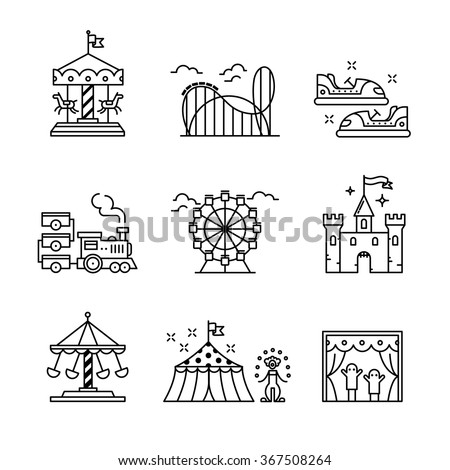 Theme amusement park sings set. Thin line art icons. Linear style illustrations isolated on white. - stock vector