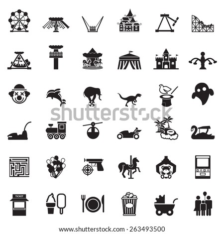 Theme Park and Zoo icon vector set - stock vector