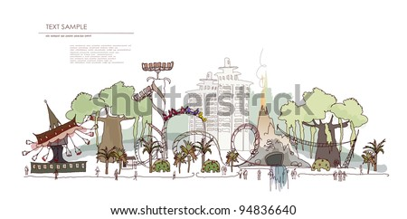 Theme park with a lot of attactions - stock vector