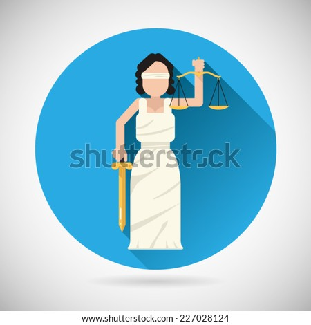 Themis Femida character with scales and sword icon law justice symbol flat vector illustration - stock vector