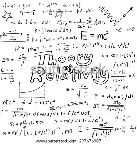 Theory of relativity and physics law and physics mathematical formula equation, doodle handwriting icon in white isolated background paper with hand drawn model, create by vector