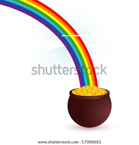Rainbow Pot Gold Pot Gold End Stock Illustration 97444709 ...