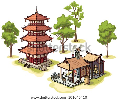 There are isolated Japanese traditional pagoda, the medieval blacksmith and some illustrated trees. - stock vector