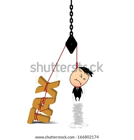There are many different tax bill than to burden them. He will dead with weight of the clutter from the tax. / TAX too heavy to afford. / - - stock vector