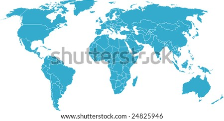 There is a global map of world, blue, vector - stock vector