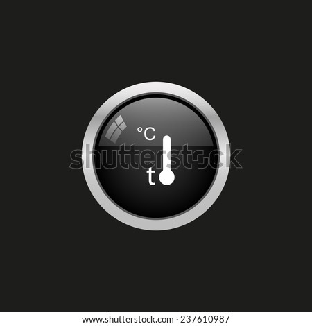 Thermometer, black button, vector