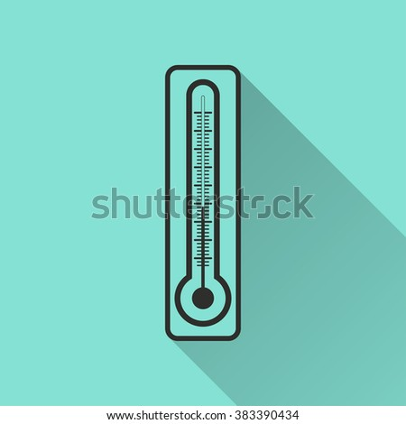 Thermometer  black icon with long shadow, flat design. Vector illustration.