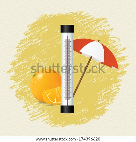 Thermometer by seasons. Summer. Vector illustration - stock vector