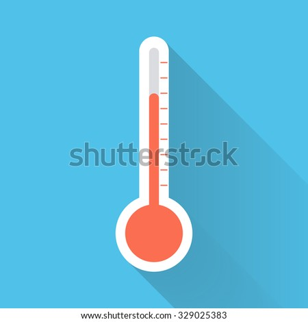 Thermometer flat color icon.