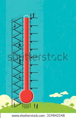 Thermometer Fund raiser. People measuring the progress of a large fund raising thermometer.  - stock vector