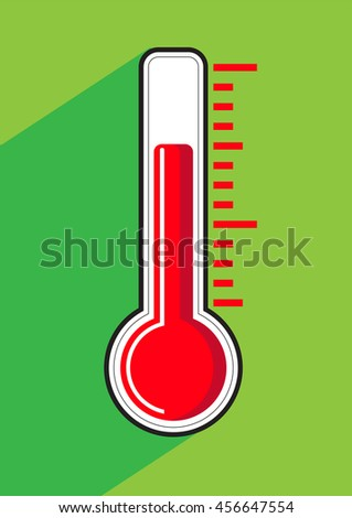 Thermometer icon on colored background