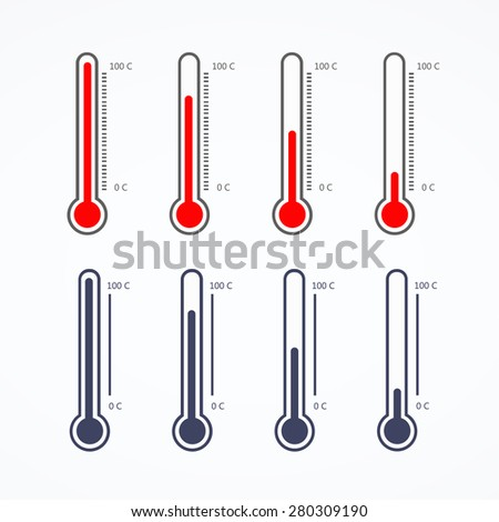 Thermometer icon on white background - stock vector