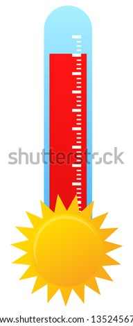 Thermometer Indicate Hot Weather - stock vector
