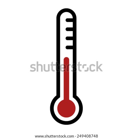 Thermometer - medical device for measuring temperature flat icon for apps and websites - stock vector