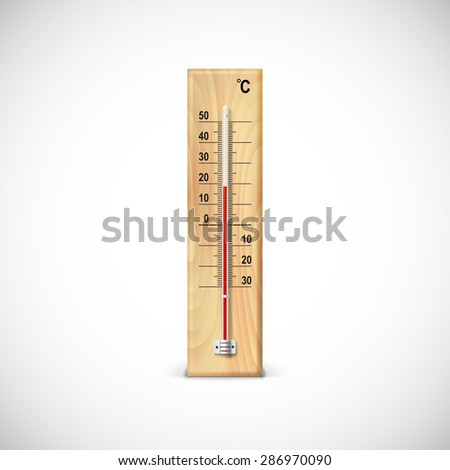 Thermometer on wooden base with celsius scale. Icon for your design. - stock vector
