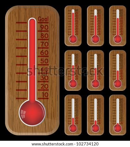 Thermometer red graphic showing progress towards goal on black, vector, 10eps. - stock vector