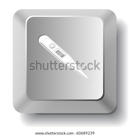 Thermometer. Shows 37 degrees Celsius. Vector computer key. - stock vector
