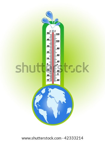 Thermometer with water splashes at the top and globe below - global warming concept - stock vector