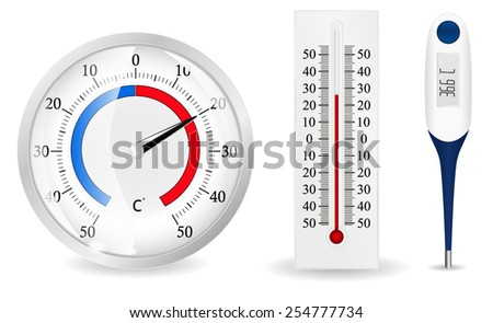 Thermometers - vector drawing isolated on white background  - stock vector