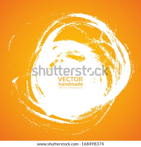 Thick brush strokes painted paints on orange 2 - stock vector