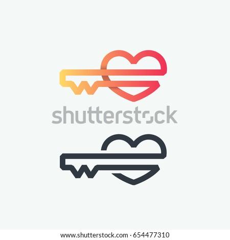 Thick Line Logo Vector Symbol Heart Stock Vector 654477310