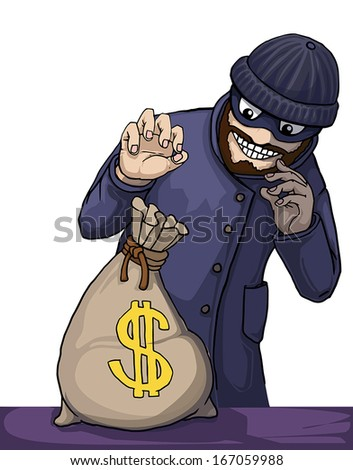 Thief about to steal a bag of money isolated on white, vector illustration - stock vector
