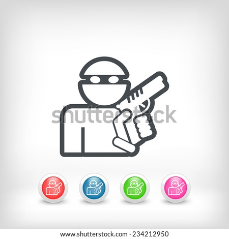 Thief armed - stock vector