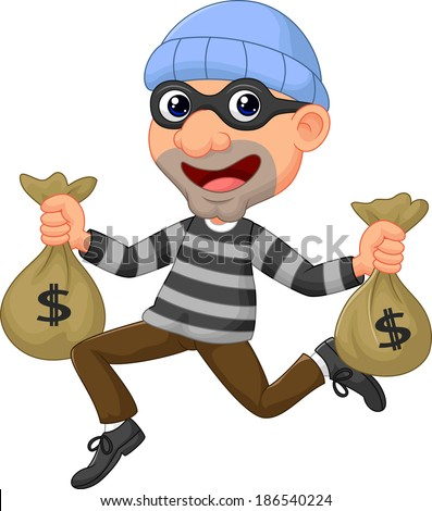 Thief carrying bag of money with a dollar sign - stock vector