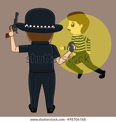 Thief Caught on Police Torch Light Vector Concept