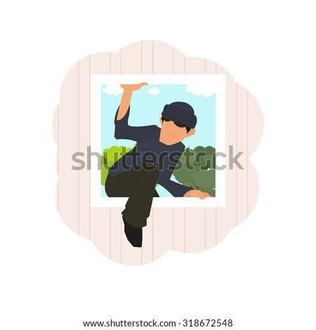thief climbs through the window of the house. Vector illustration in a flat style. - stock vector