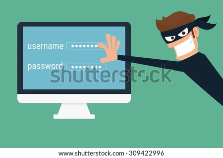 Thief. Hacker stealing sensitive data as passwords from a personal computer useful for anti phishing and internet viruses campaigns.concept hacking internet social network.Cartoon Vector Illustration.