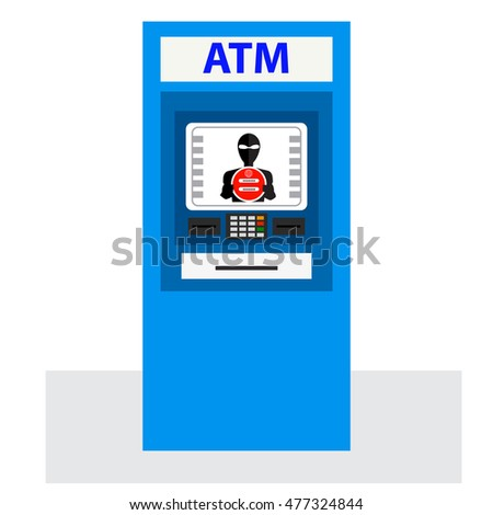 Thief. Hacker stealing sensitive data from ATM machine.