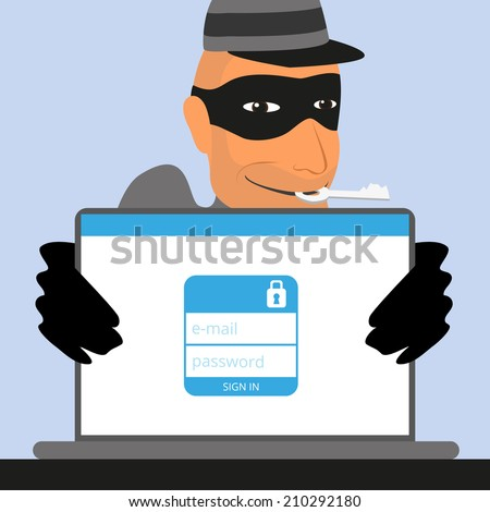 Thief has a key for an account of social networking. - stock vector