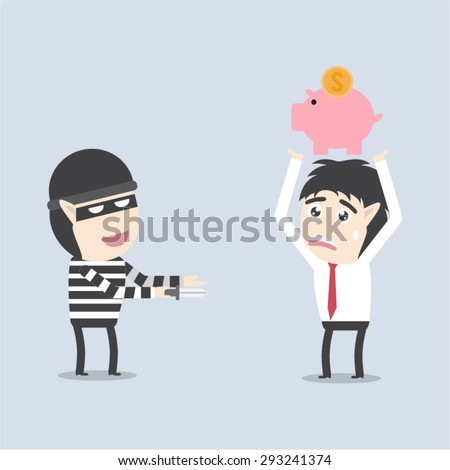 Thief holding knife in his hand and steal piggy bank - stock vector