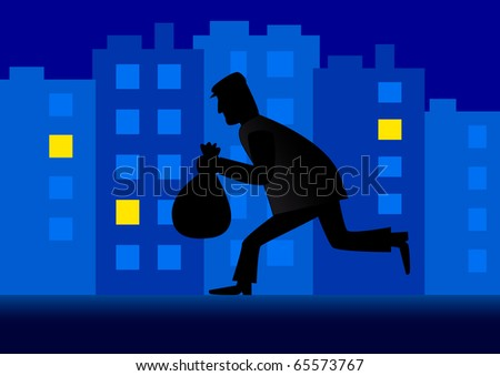 Thief in the city - stock vector