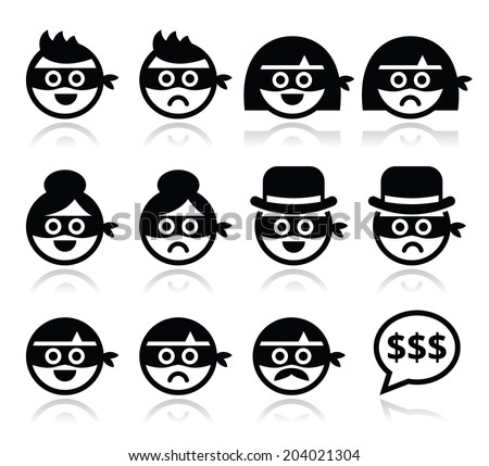 Thief man and woman sad and happy faces in masks icons set  - stock vector