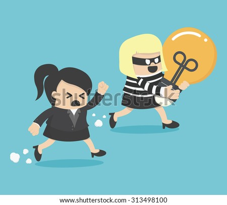 Thief stealing bulb from another BusinessWoman - stock vector